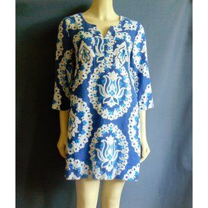 Boden Blue Floral Linen Tunic Dress 8R
